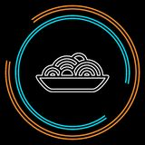 Pasta plate icon - vector spaghetti. Illustration, noodle bowl - meal time. Thin line pictogram - outline stroke vector illustration