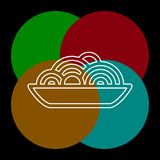 Pasta plate icon - vector spaghetti. Illustration, noodle bowl - meal time. Thin line pictogram - outline editable stroke vector illustration