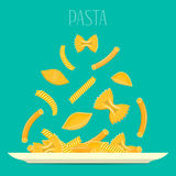 Pasta on a plate. Different pasta soar over the plate. Vector composition.  Royalty Free Stock Photos