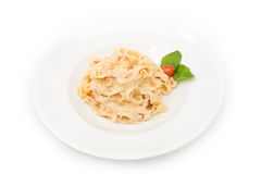 Pasta plate isolated on white Royalty Free Stock Images