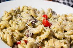 Pasta Plate in Sunshine at Outdoor Patio Restaurant Stock Photography