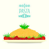 Pasta on a plate with tomatoes and herbs. Vector illustration. Royalty Free Stock Photo
