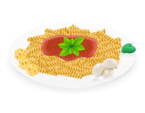 Pasta on a plate vector illustration Stock Photos