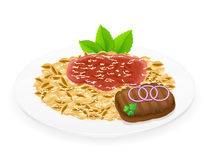Pasta on a plate vector illustration Stock Image