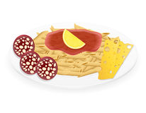 Pasta on a plate vector illustration Royalty Free Stock Photo