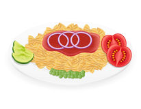 Pasta on a plate with vegetables vector illustration Stock Image