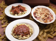 3 pasta plates Royalty Free Stock Images