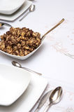 Pasta poppy seed dish. Tabletop meal settings with a pasta poppy seed dish Stock Photos