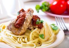 Pasta with pork Stock Photo