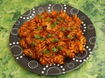 Pasta with pork meat Stock Photos