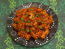 Pasta with pork meat Stock Photos