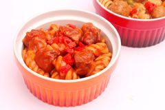 Pasta with pork. Some fresh pasta with pork meat Royalty Free Stock Image