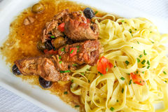 Pasta and pork Stock Photo