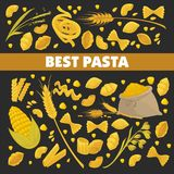 Pasta poster for best Italian cuisine food of vector spaghetti macaroni Stock Images