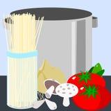 Pasta and pot Royalty Free Stock Photo