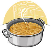 Pasta in the pot Stock Photography