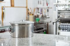 Pasta Pot On Countertop In Commercial Kitchen Royalty Free Stock Photography