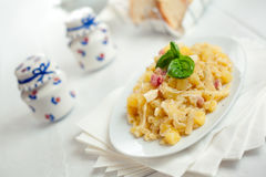 Pasta with Potatoes Provola Cheese and Bacon Stock Images