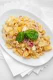 Pasta with Potatoes Provola Cheese and Bacon Royalty Free Stock Images