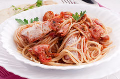Pasta with prawn. Traditional italian pasta with prawns Stock Image