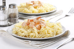 Pasta with prawns Royalty Free Stock Photo