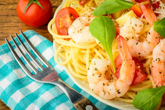 Pasta with prawns Royalty Free Stock Photos