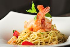 Pasta with prawns, delicious spaghetti with prawns Stock Photography