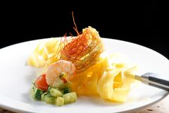 Pasta with prawns, delicious tagliatelle with prawns / shrimps Stock Images