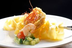 Pasta with prawns, delicious tagliatelle with prawns / shrimps Stock Photo