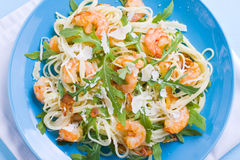Pasta with prawns Stock Images