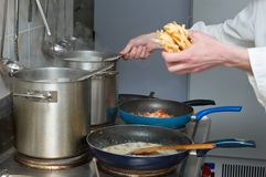 Pasta preparation stock image