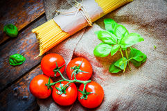 Pasta preparation set- spagetti,tomatoes and basil Royalty Free Stock Photography