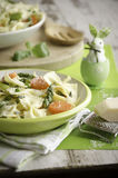 Pasta primavera and Easter bunny stock photos