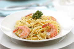 Pasta Primavera with grilled shrimps Royalty Free Stock Photos