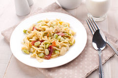 Pasta with prosciutto and green lima beans Royalty Free Stock Image