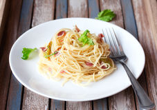 Pasta with prosciutto Royalty Free Stock Image