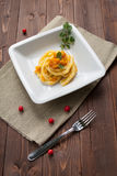 Pasta with pumpkin Stock Photography