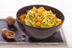 Pasta, pumpkin and pesto Royalty Free Stock Image