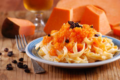 Pasta with pumpkin royalty free stock image