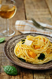 Pasta with pumpkin and spinach Royalty Free Stock Images