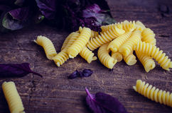 Pasta with purple basil on wooden background. Fusilli with fresh purple basil on wooden background. Traditional Italian pasta. Selective focus Royalty Free Stock Photos