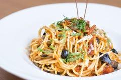 Pasta Puttanesca Royalty Free Stock Photos