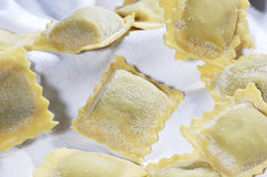 Pasta Ravioli. Put on a white tablecloth Royalty Free Stock Photography