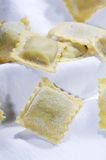 Pasta Ravioli. Put on a white tablecloth Stock Photography