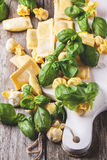Pasta ravioli with basil Stock Photography