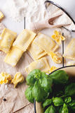 Pasta ravioli on flour with basil Royalty Free Stock Photos
