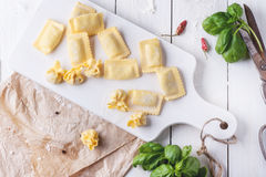 Pasta ravioli on flour with basil Stock Image