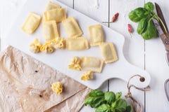 Pasta ravioli on flour with basil Stock Image