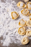 Pasta ravioli on flour. Top view on homemade pasta ravioli over wooden table with flour Stock Photos