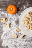 Pasta ravioli with pumpkin Stock Photo